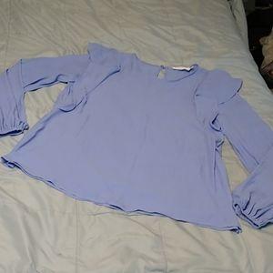 Lush Periwinkle Blue Blouse Ruffles Long Sleeve S